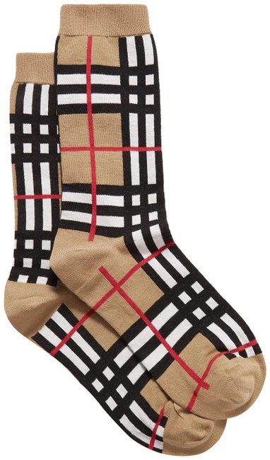 Item - Beige Check Small Socks
