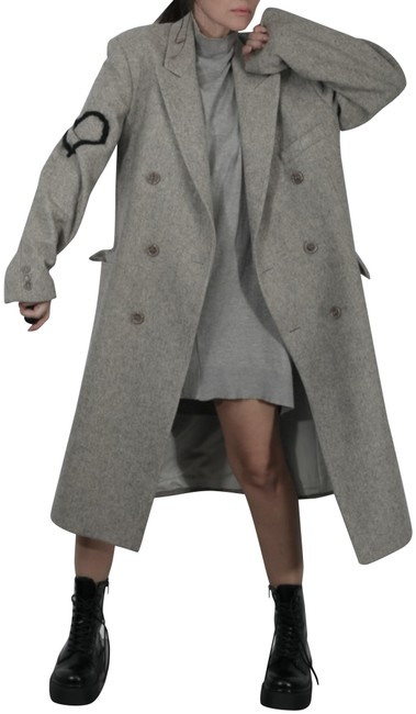 Item - Gray L Vintage Wool Double Breasted Long Midi Coat Size 12 (L)