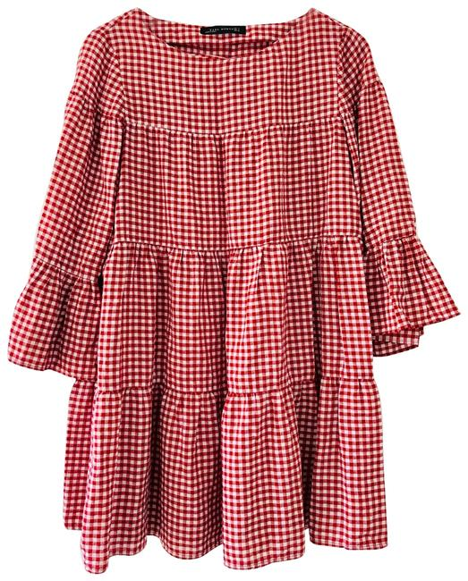 Item - Red and White Mini Gingham Print Short Casual Dress Size 6 (S)