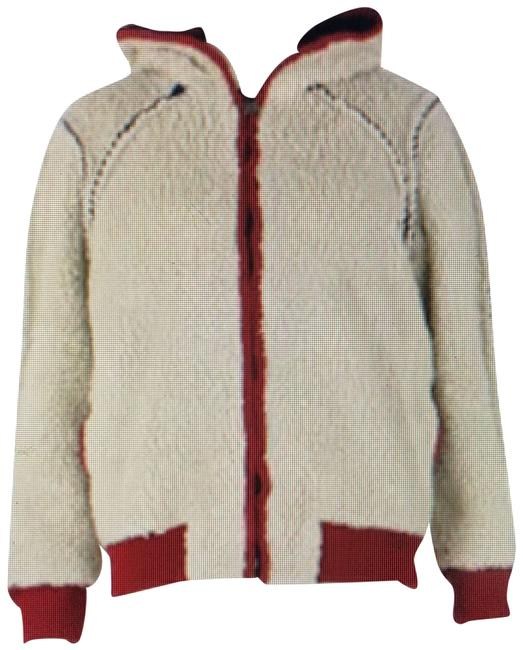 Item - Cream Burgundy and Blue Puffer - Exterior - Faux Shearling Fleece Jacket Activewear Size 14 (L)