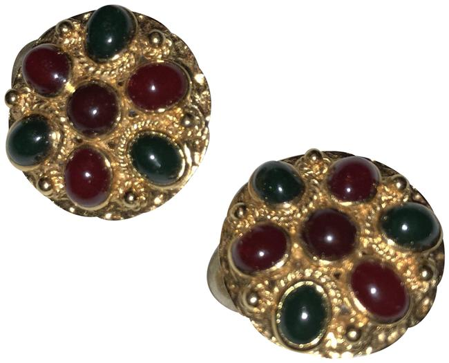 Item - Multi Color/ Gold Red and Green With Earrings