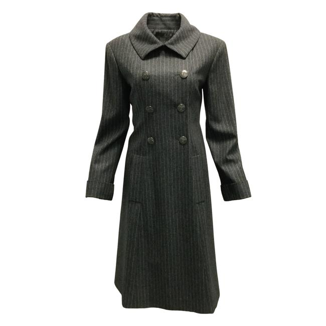 Item - Grey Pinstriped Double Breasted Wool Coat Size 10 (M)