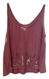 Decree Art Deco Crop Mesh Knit Top Dusty Purple