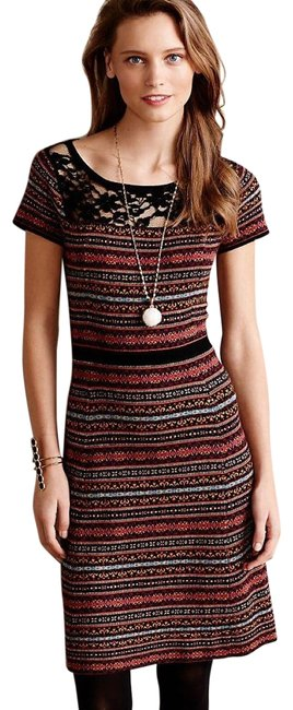 Item - Multicolor Fair Isle Sweater Mid-length Short Casual Dress Size 4 (S)