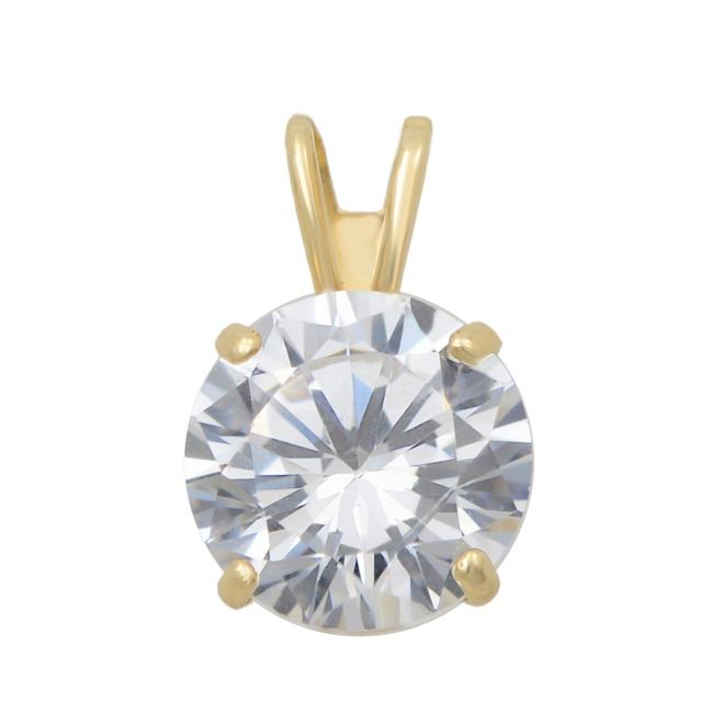 Item - 14k Yellow Gold One Prong Set Cubic Zirconia Stone Pendant 7mm Necklace