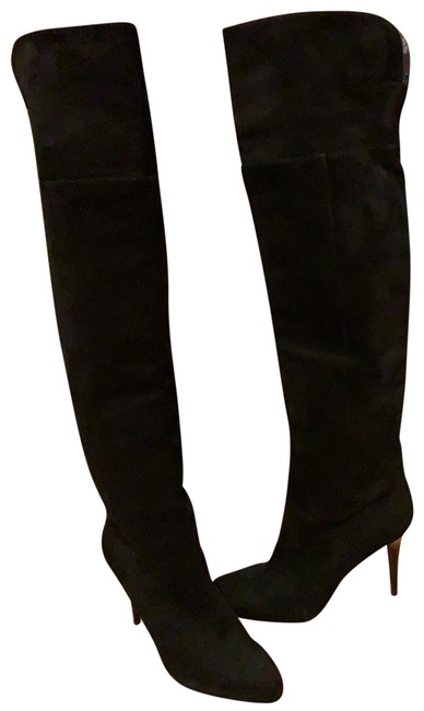 Item - Black Over The Knee Suede Stiletto Boots/Booties Size US 10.5 Regular (M, B)