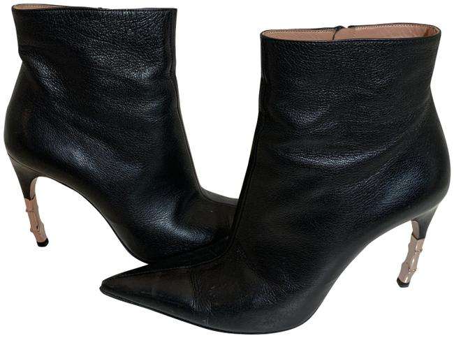 Item - Black Goat Leather Rose Gold Metal Heels Boots/Booties Size US 7.5 Regular (M, B)
