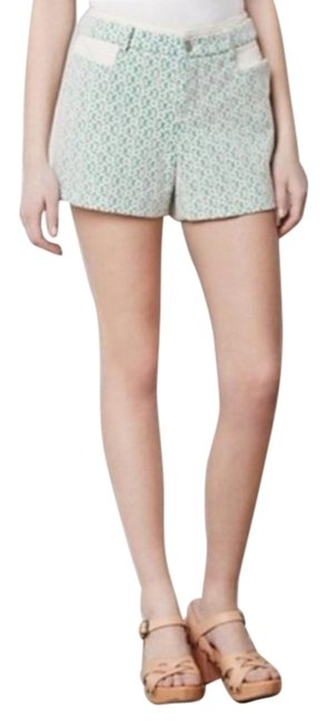 Item - Green Cream Anthro Cartonnier Rose Point Lace Overlay Shorts Size 0 (XS, 25)