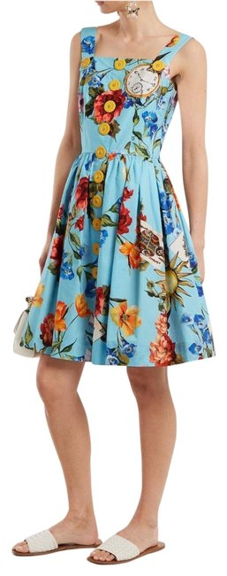 Item - Multicolored Dolce and Gabbana Floral Print Blue Mid-length Short Casual Dress Size 8 (M)