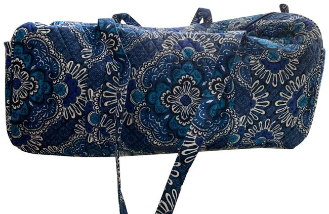 Item - Large Duffel - Blue Tapestry Cotton Weekend/Travel Bag