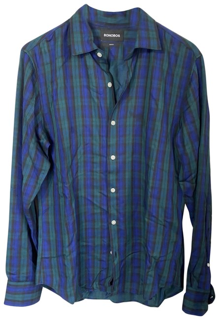 Item - Blue/Green New Plaid Long Sleeves Slim Fit Button-down Top Size 8 (M)