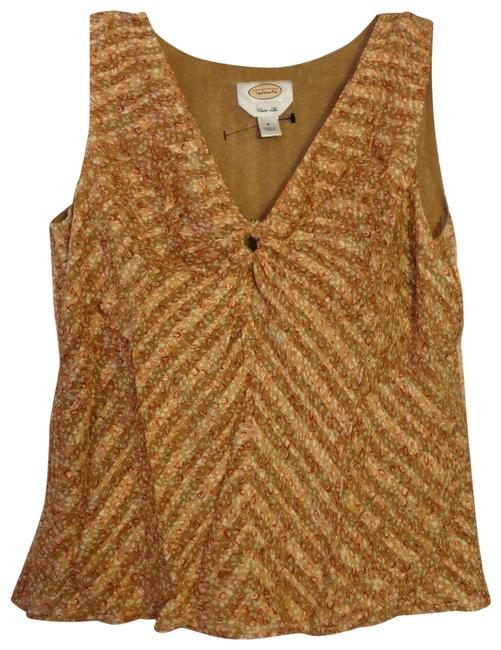 Item - Beige Tan Brown Shimmery Sleeveless Blouse Silk Tank Top/Cami Size 6 (S)