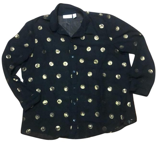 Item - Black with Gold Sequined Blouse Size 16 (XL, Plus 0x)