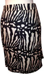 Ann Taylor Skirt Black & White Silk Twill