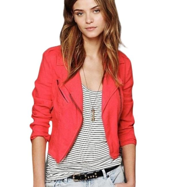Item - Red Pink -- Linen Cropped Moto Jacket Size 8 (M)