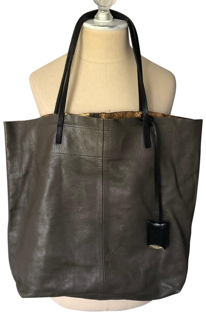 St. Barth Large Brown Taupe and Gold Leather Tote St. Barth Large Brown Taupe and Gold Leather Tote Image 1