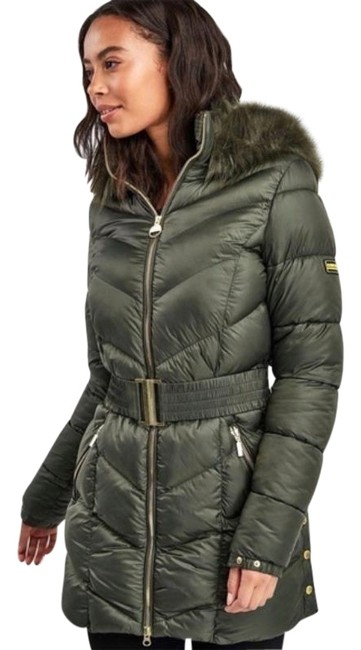 Item - Green Quilted Faux Fur Trim Hooded Belted Puffer Jacket Coat Size 4 (S)
