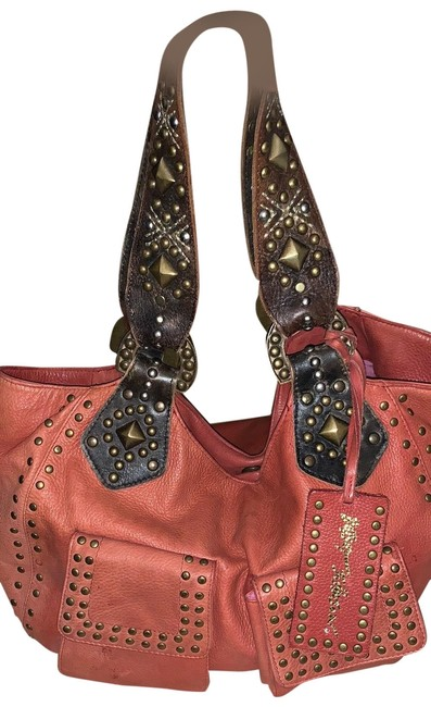 Item - Studded Red Leather Tote