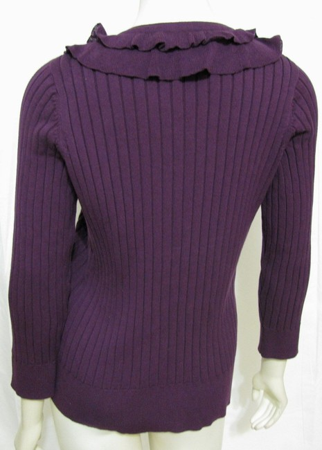 Van Heusen New Knit Ruffle Sweater Women L With Tags 12 14 Buttoned Shirt 3/4 Sleeve Cardigan