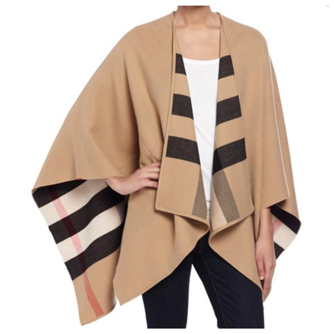 Item - Camel Charlotte Reversible Wool Check Poncho/Cape Size OS (one size)