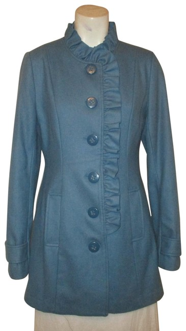 Item - Blue Ruffled Wool Blend Coat Size 8 (M)