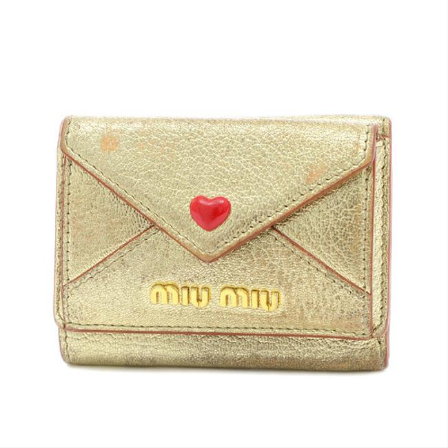 Item - Gold Tri-fold Compact Madras Love Heart Leather 5mh021 Wallet