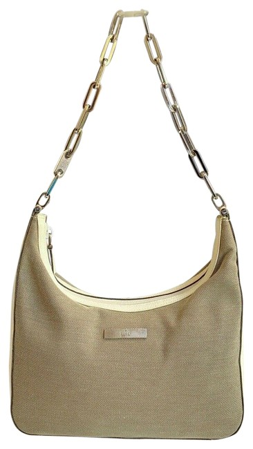 Gucci Vintage Chain Cream Brown Canvas and Leather Shoulder Bag Gucci Vintage Chain Cream Brown Canvas and Leather Shoulder Bag Image 1
