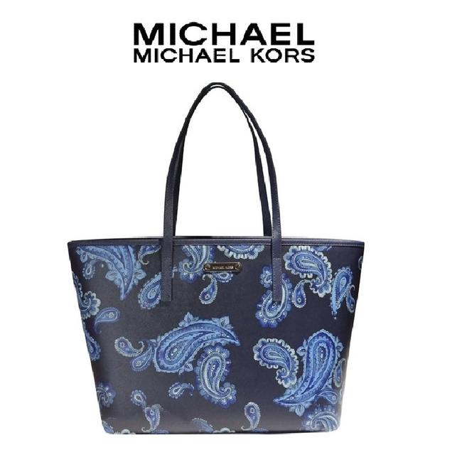 Item - Bag Emry Paisley Print Large In Saffiano Admiral Navy / Multi Leather Tote
