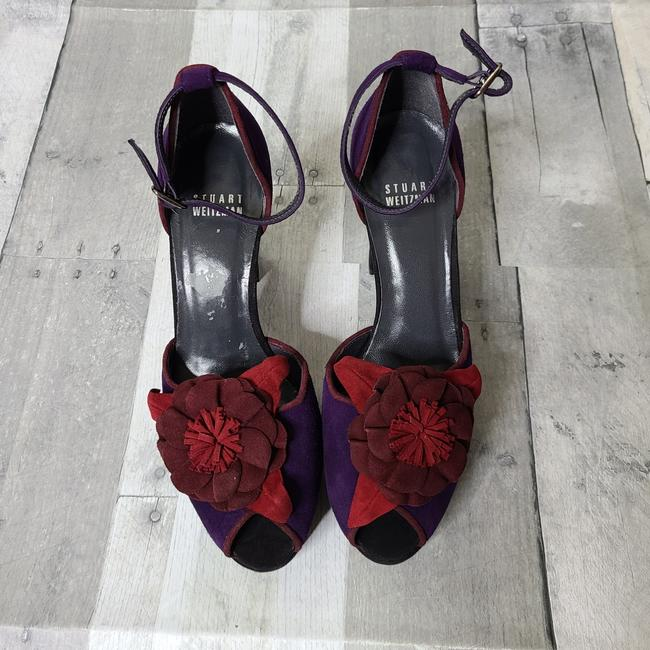 Item - Purple Suede Floral Detail Heels Pumps Size US 8 Wide (C, D)