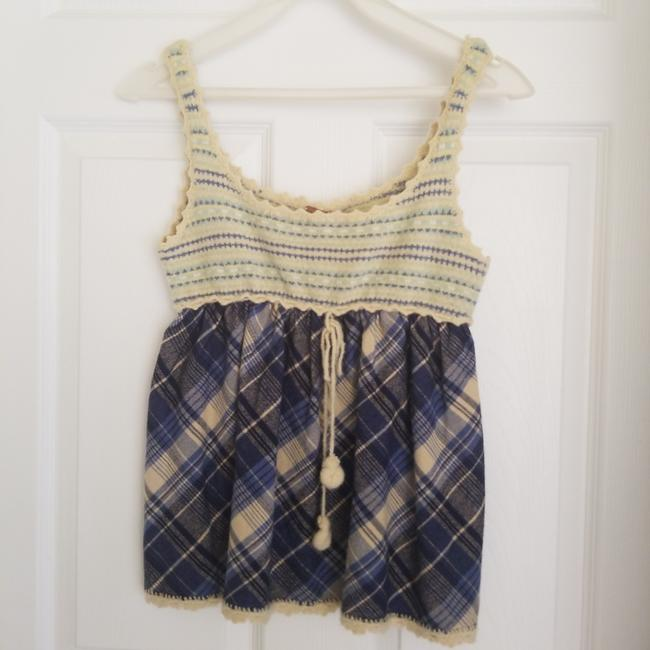 Item - Blue/ Ivory Flannel Tank Top/Cami Size 4 (S)