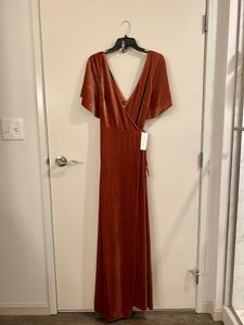 Jenny Yoo English Rose Stretch Velvet Marin Feminine Bridesmaid/Mob Dress Size 8 (M)