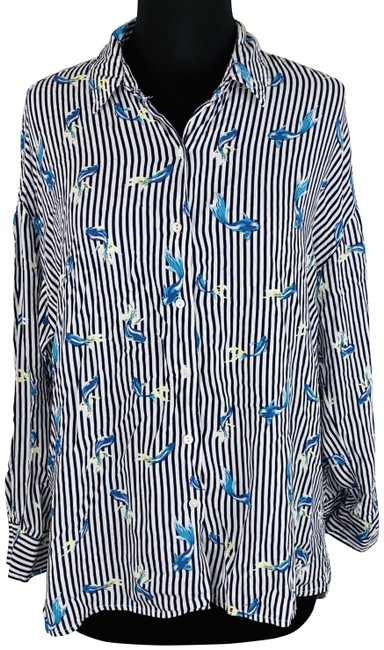 Item - Multicolor Striped Shirt with Koi Fish Theme Button-down Top Size 4 (S)