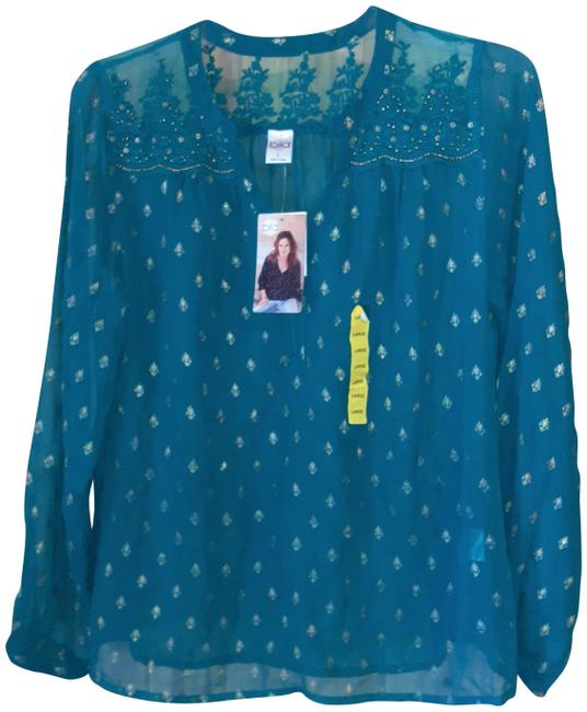 Item - Teal L With Gold Accents - Blouse Size 12 (L)