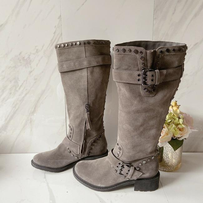 Item - Gray Deryn Studded Biker Motorcycle Suede Leather Boots/Booties Size US 7 Regular (M, B)