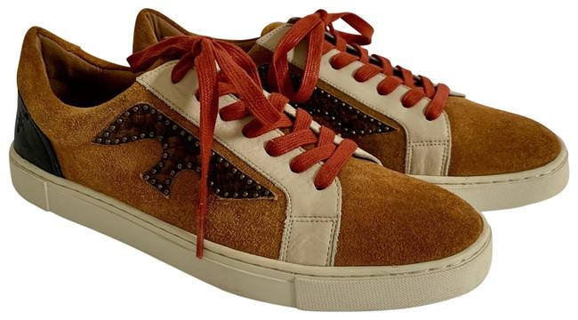 Item - Brown Cognac Suede Black + Putty Leather Trim Red Laced Bronze Studs Sn Sneakers Size US 10 Regular (M, B)