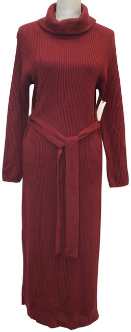 Item - Burgundy Long Sleeve Knit Sweater Belted Long Turtleneck Mid-length Casual Maxi Dress Size 6 (S)