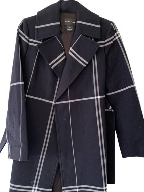 Item - Navy and White Checked Coat Size 2 (XS)