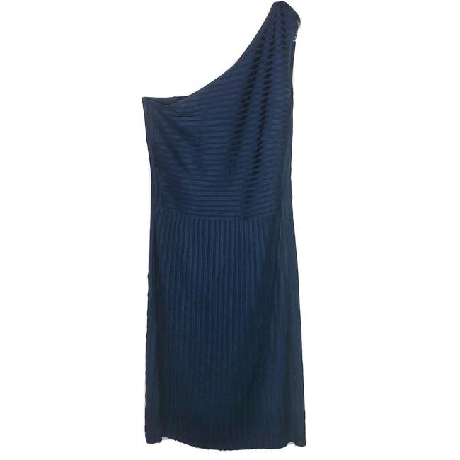 Item - Navy Blue Dominguez One Shoulder Evening Mid-length Formal Dress Size 6 (S)