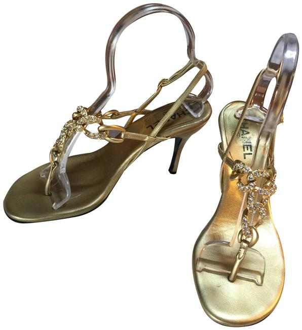 Item - Gold with Faux Diamonds Thong Italy Heels Formal Shoes Size EU 38.5 (Approx. US 8.5) Regular (M, B)