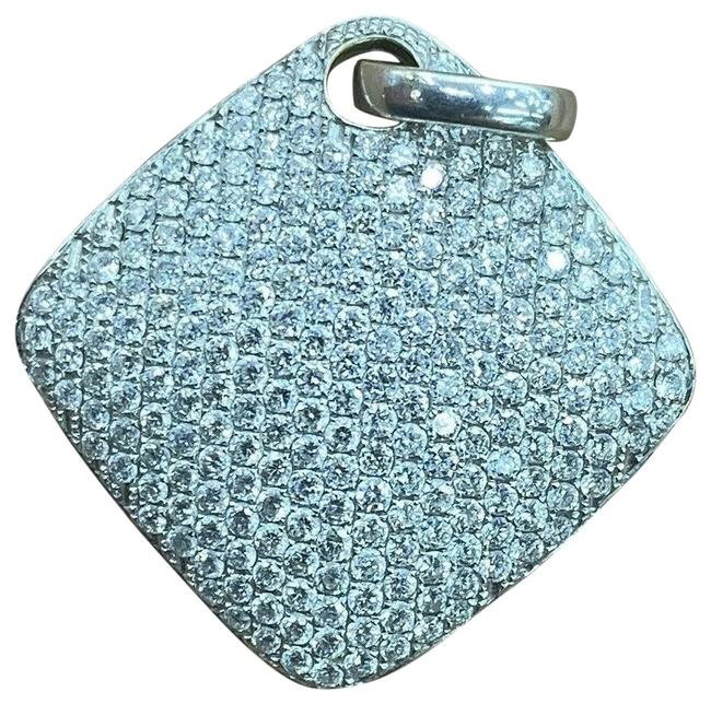 "Custom Made White Gold Square Diamond Pave Pendant 18kt 1.00ct 1"" Custom Made White Gold Square Diamond Pave Pendant 18kt 1.00ct 1"" Image 1"