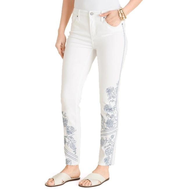 Item - White (Alabaster) So Slimming No-stain Embroidered Girlfriend Ankle Skinny Jeans Size 16 (XL, Plus 0x)