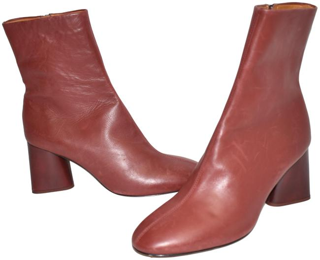 Item - Burgundy Purple Fei Ankle Leather Flared Block Heel (Se18) Boots/Booties Size EU 38.5 (Approx. US 8.5) Regular (M, B)