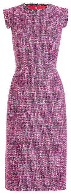 Item - Pink Red Resume Sheath Autumn Tweed Pockets Lined Mid-length Work/Office Dress Size 8 (M)