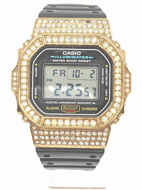 Item - Dial Color: Black Custom Gold Plated Crystal Dw-5600e G-shock 861265 Watch