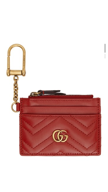 Item - Marmont Red Gg 2.0 Quilted Card Holder Wallet