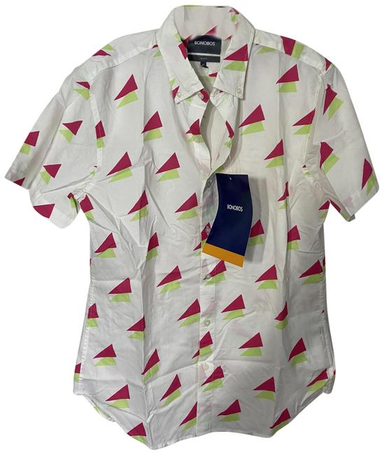 Item - White New Funky Design Short Sleeves Shirt Button-down Top Size 8 (M)