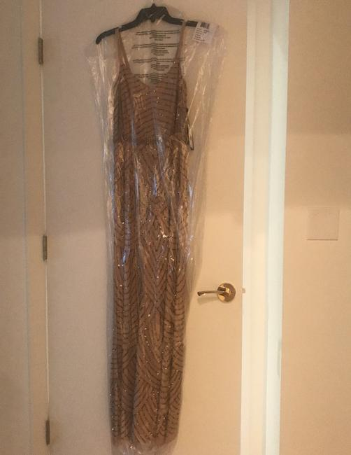 Item - Taupe/Pink Art Deco Blouson Beaded Gown Formal Bridesmaid/Mob Dress Size 0 (XS)