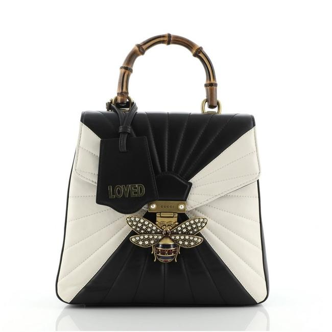 Item - Queen Margaret Quilted Small Black Multicolor White Leather Backpack