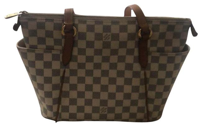 Item - Damien Azur White Gray with Beige/Brown Leather Trim Canvas Tote