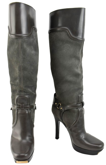 """Item - Gray Stirrup Leather """"Stirrup Buckles"""" """""""" Logos Tall Boots/Booties Size EU 39 (Approx. US 9) Wide (C, D)"""